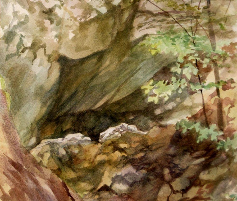 Páris patak völgye részlet akvarell, papír 40x30 cm 2020.