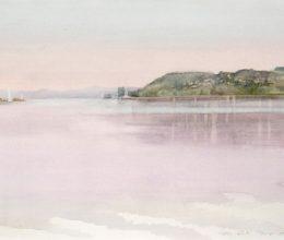Tihanyi rév hajnalban akvarell,papír 30x40 cm 2018.