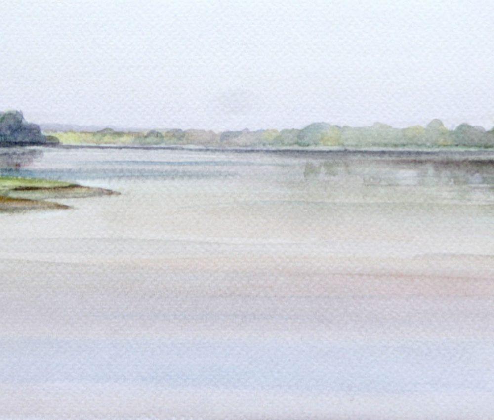 Ősz a Dunánál akvarell, papír 13x29 cm 2018.