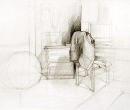 Mellény széken ceruza, papír 22 x 17 cm 2007