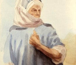 Tanulmány a Foucauld szekkóhoz IX. akvarell A4 2009.