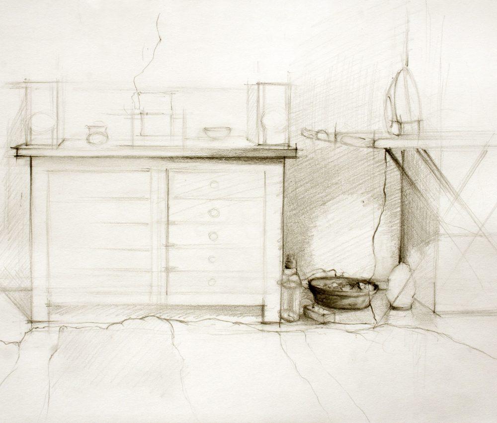 Szemben ceruza, papír 22 x 17 cm 2011