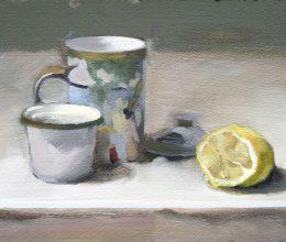 Kis citromos csendélet olaj, farost 21x29 cm 2010
