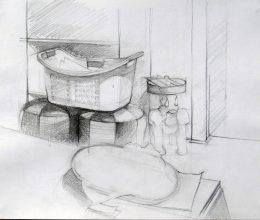 Szoba részlet ceruza, papír