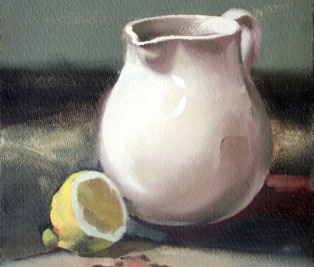 Kancsó citrommal olaj, farost 21x29 cm 2010.