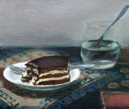 Zsuzsi süti olaj,farost 21x29 cm 2008.
