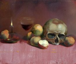Koponya almákkal olaj, vászon 35x50 cm 2007.
