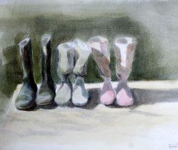 Gumicsízmák akvarell, papír 20x30 cm 2011.