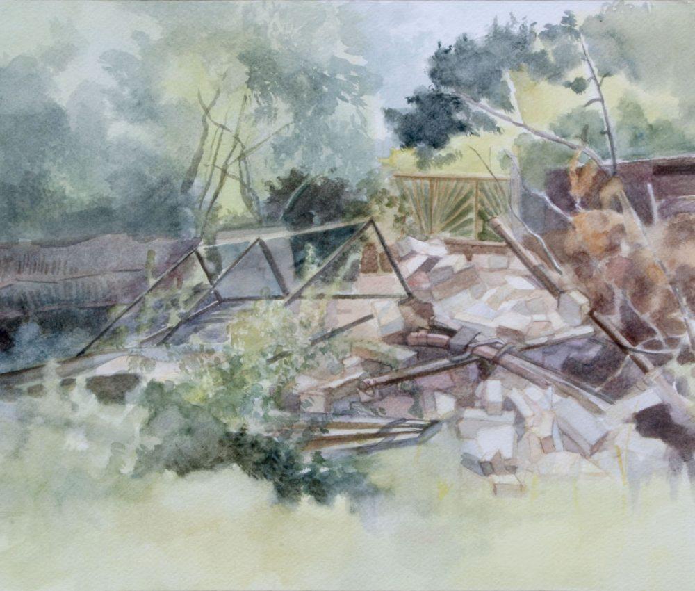 Téglarakás akvarell, papír 32x 44 cm 2012.