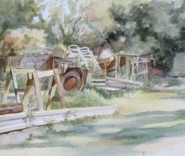 Hátsó kert akvarell, papír 32x44 cm 2012.
