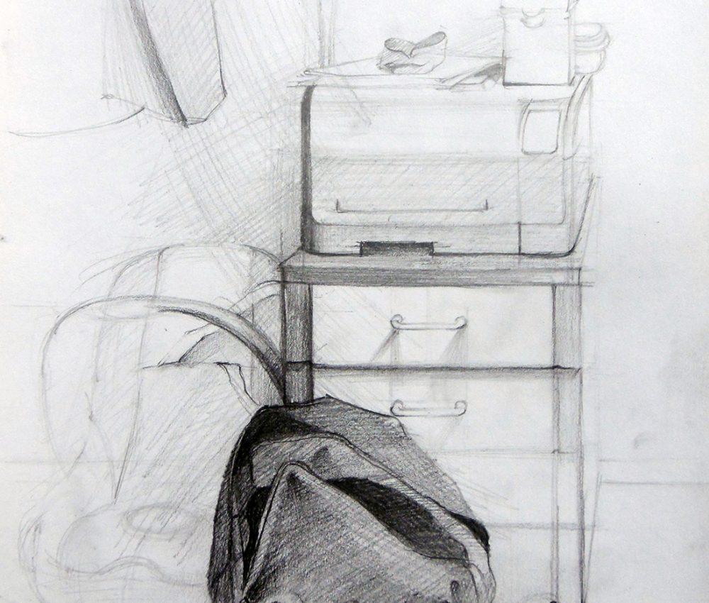 Hátizsák ceruza, papír 2010.