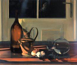 Csendélet üvegekkel és önarcképpel olaj, vászon 70x90cm 2006