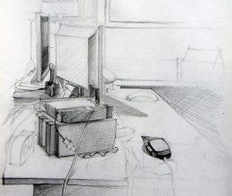 Irodaasztal ceruza, papír 2010.