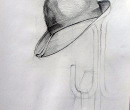 Elveszett kalap ceuza, papír 2011.