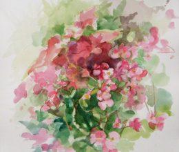 Piros virág akvarell, papír 22x22 cm 2019.