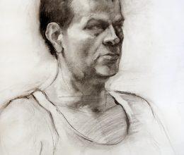 Férfi portré szén, papír 2009.
