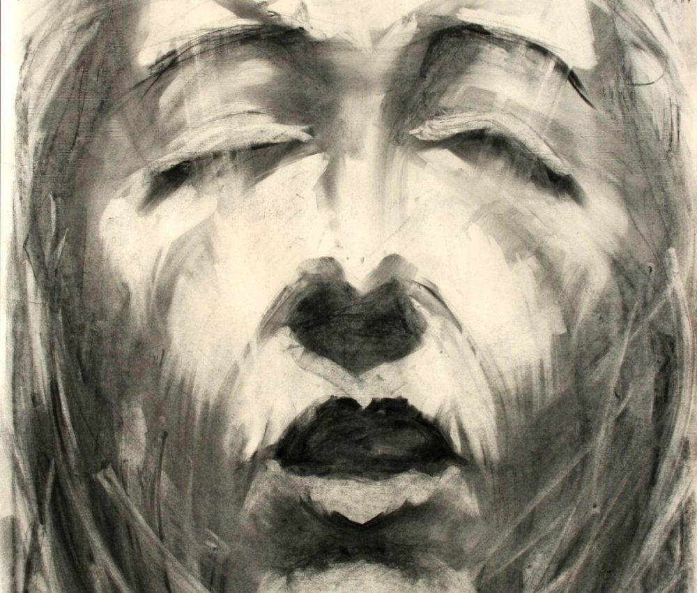 Passió - stáció XII. 100x70 cm szén, papír 2003.