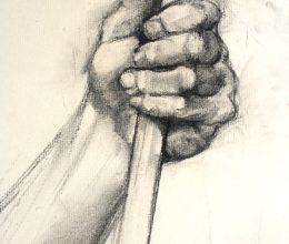 Kéztanulmány (katona) szén, papír 2009.