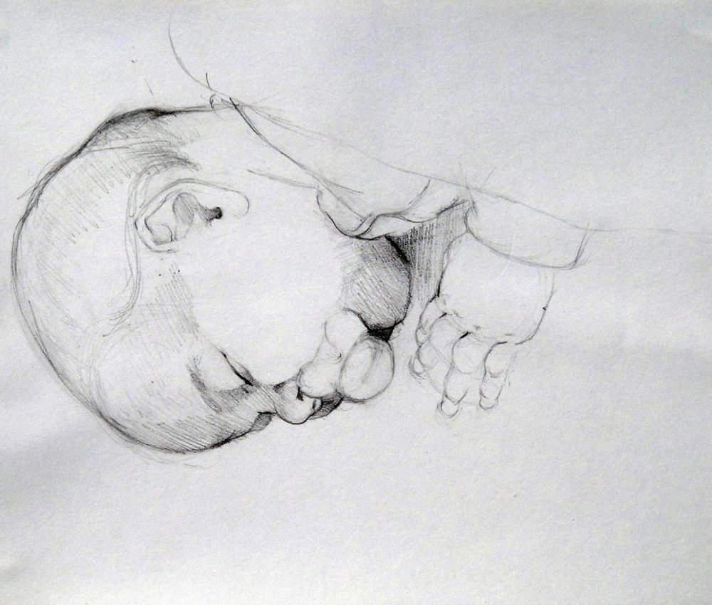 Petra alszik ceruza, papír 2013.